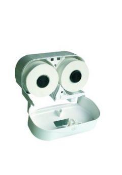 Toilettenpapierspender Kunststoff weiß für 2 Rollen nebeneinander