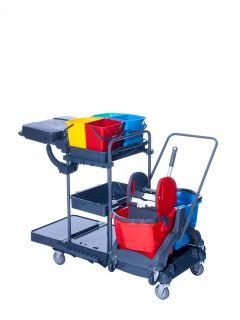 Reinigungswagen RW1 Multi mit Doppelfahrwagen Kunststoff